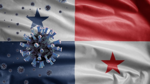 3d, machająca flaga panamy i koncepcja coronavirus 2019 ncov. azjatycka epidemia w panamie, koronawirusy grypy jako groźne przypadki szczepów grypy jako pandemia. wirus mikroskopu covid19 z bliska