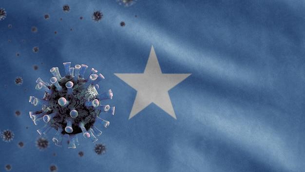 3d, machająca flaga somalii i koncepcja coronavirus 2019 ncov. azjatycka epidemia w somalii, koronawirusy grypy jako groźne przypadki szczepów grypy jak pandemia. wirus mikroskopu covid19 z bliska.