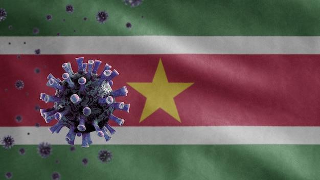 3d, machająca flaga surinamu i koncepcja koronawirusa 2019 ncov. azjatycki wybuch epidemii w surinamie, koronawirusy grypy jako groźne przypadki szczepów grypy jako pandemia. wirus mikroskopowy covid19