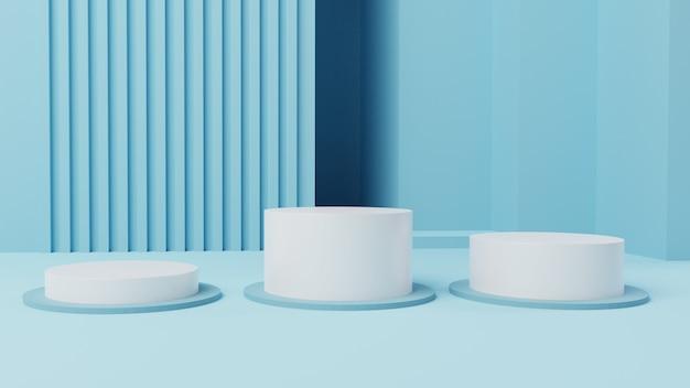3d makieta 3-stopniowy wyświetlacz z białym cylindrem z wewnętrznym tłem renderowania 3d, ilustracja 3d