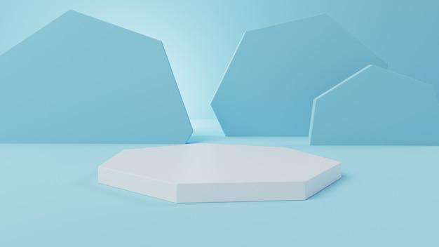 3d makieta pięciokątny wyświetlacz z miękkim niebieskim tle abstrakcyjnych 3d tła ilustracji, renderowania 3d, ilustracji 3d