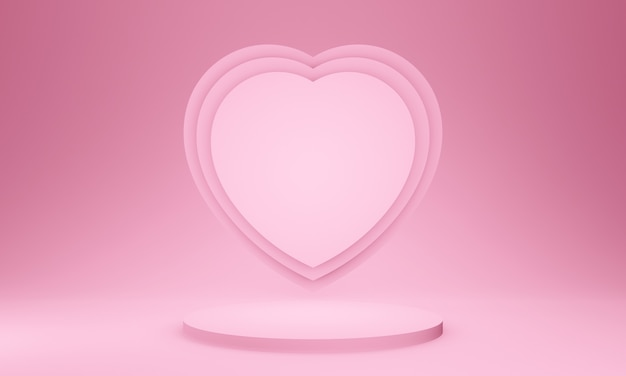 3d makieta sceny różowy valentine