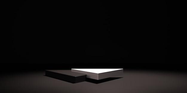 3d makieta tło, czarno-białe tło z podium dla produktu.
