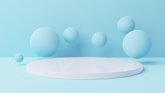 3d makieta wyświetlacz cylindra z miękkim niebieskim tłem ilustracja 3d tło, renderowanie 3d, ilustracja 3d
