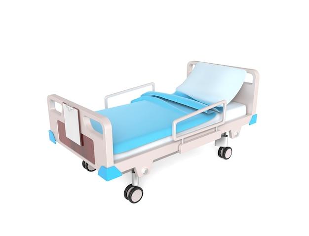 3d małe łóżko medyczne na białym tle