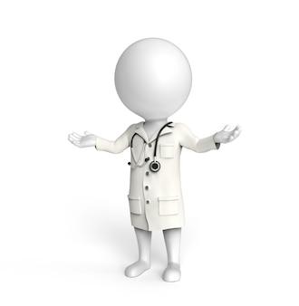 3d mały biały człowiek stoi jak lekarz z wyciągniętymi rękami