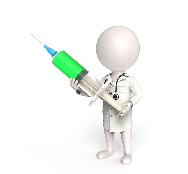 3d mały biały człowiek stoi jako lekarz ze strzykawką
