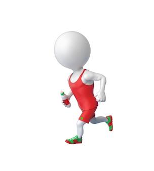 3d mały biały sportowiec działa z butelką w ręku na białym tle nad białym