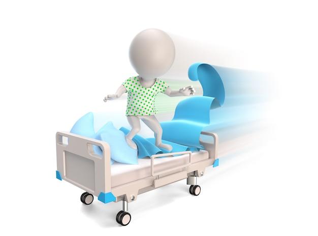 3d mały człowiek jako pacjent jadący na łóżku medycznym na białym tle