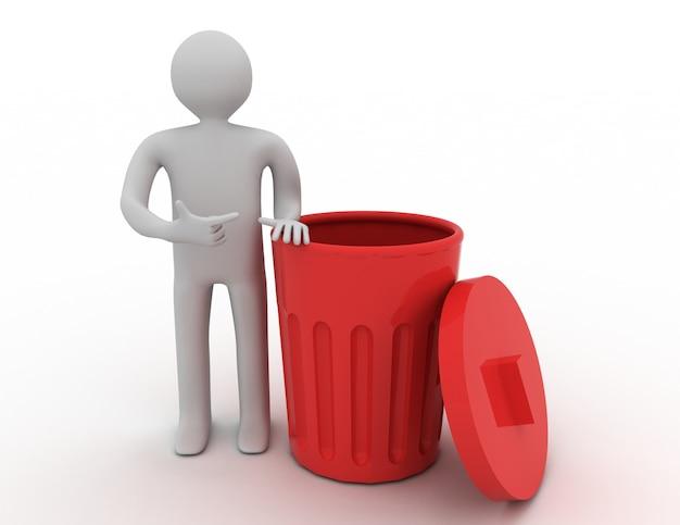 3d mały człowiek stojący obok kosza na śmieci.