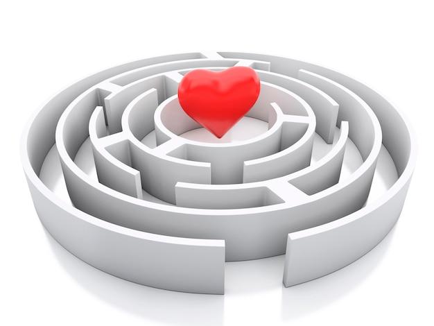 3d maze i serce w środku.
