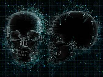 3D medyczny tło z niskim poli- projektem na xray czaszki