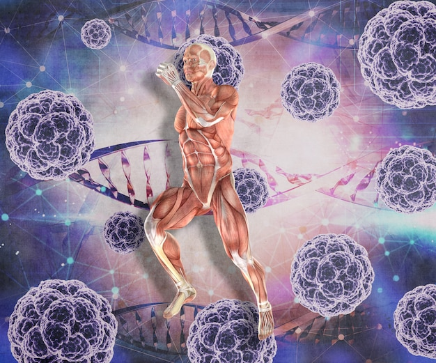3d medyczny tło z męską postacią w biegać pozie z wirusowymi komórkami i dna splata