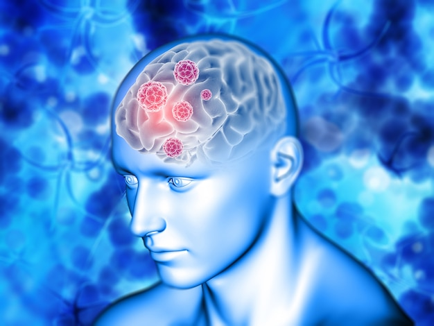 3d medyczny tło z mózg podkreślającym