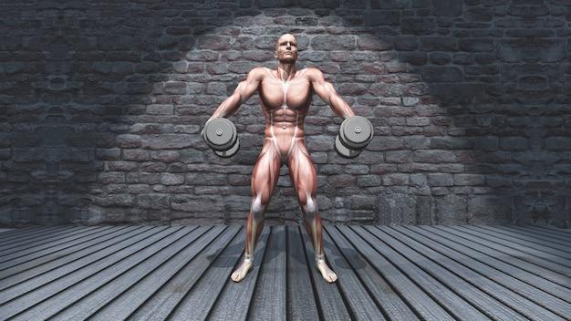 3d męska postać w dumbbell ramienia wzruszeń ramionach pozuje w grunge wnętrzu