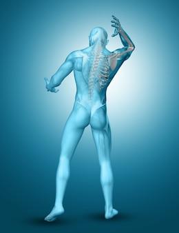 3d męskiej postaci medycznej z podświetlonymi ramionami