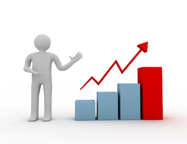 3d mężczyzna przedstawia wykres wykresu wzrostu biznesu
