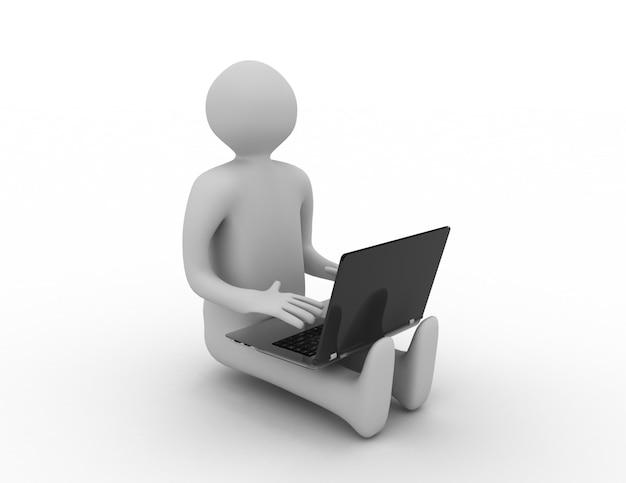 3d mężczyzna siedzący z laptopem. 3d renderowana ilustracja