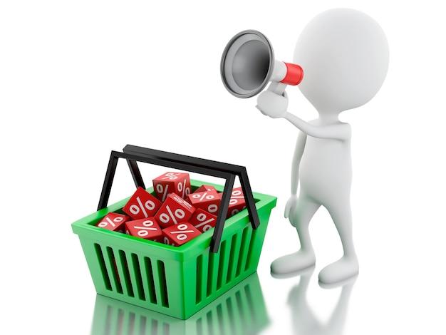3d mężczyzna sprzedaży zawiadomienie z megafonem i zakupy koszem.