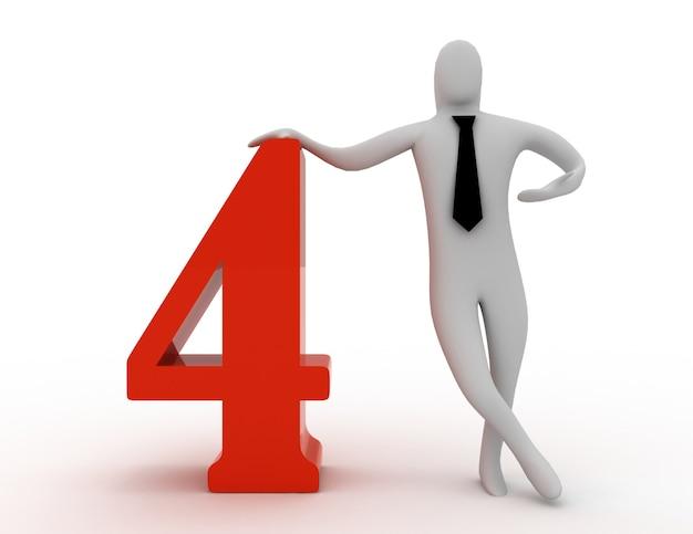3d mężczyzna trzyma numer cztery