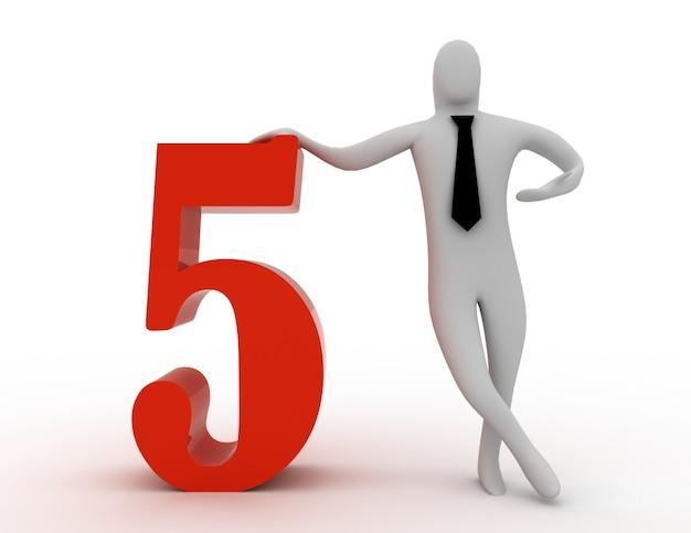 3d mężczyzna trzyma numer pięć