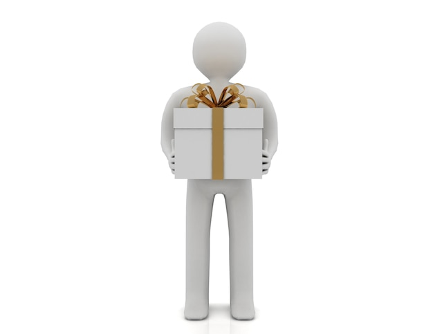 3d mężczyzna trzyma pudełko na białym tle na białym tle