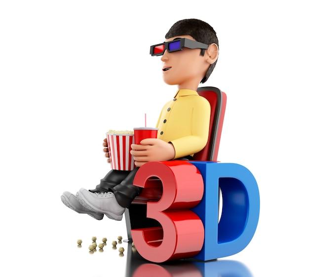 3d mężczyzna w kinie i jedzenie popcorn z okularami 3d.