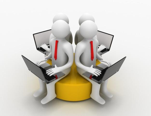 3d mężczyzna z laptopem siedzący na żółtym dysku