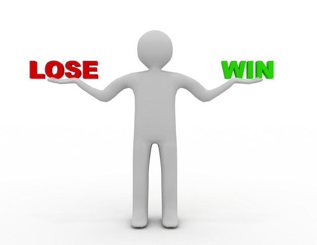 3d mężczyzna z przegraną i wygraną. 3d renderowana ilustracja