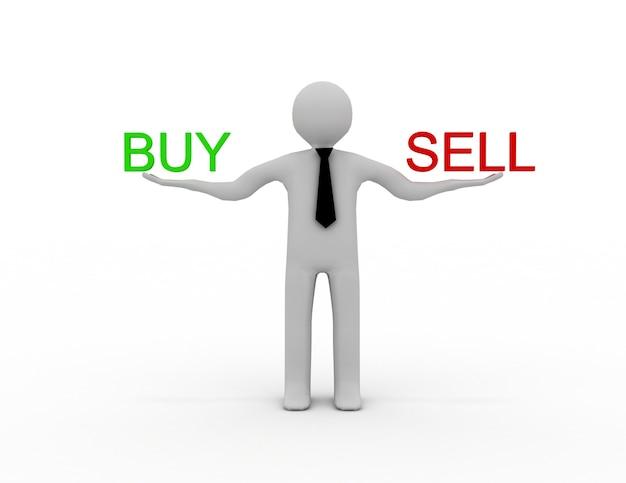 3d mężczyzna z tekstem kup i sprzedaj