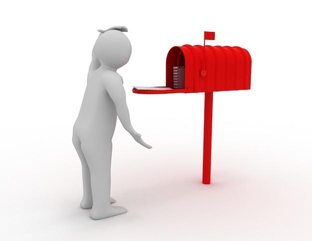 3d mężczyzna ze skrzynką pocztową. koncepcja poczty. renderowana ilustracja