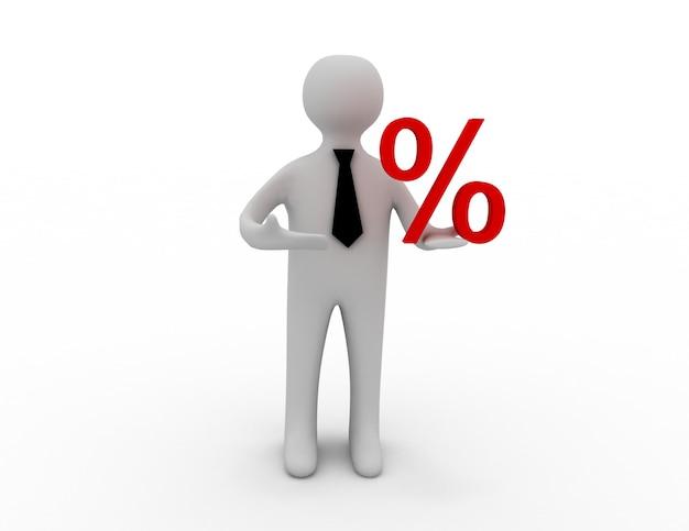 3d mężczyzna ze znakiem procentu