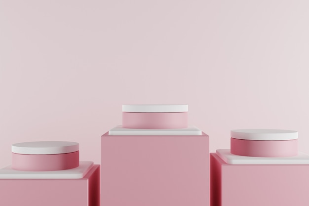 3d minimalistyczna pastelowa scena z różowym podium.