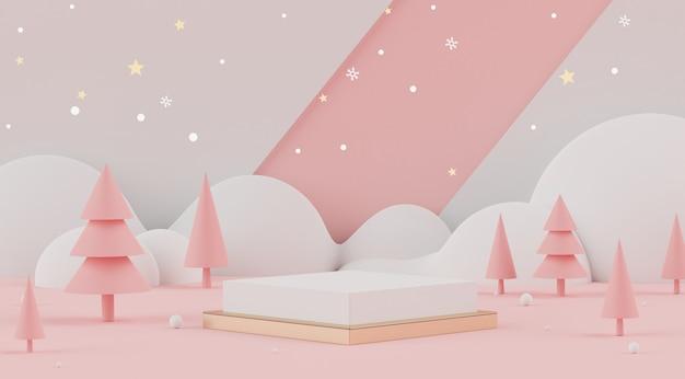 3d minimalna scena bożonarodzeniowa z podium do makiety i prezentacji produktu