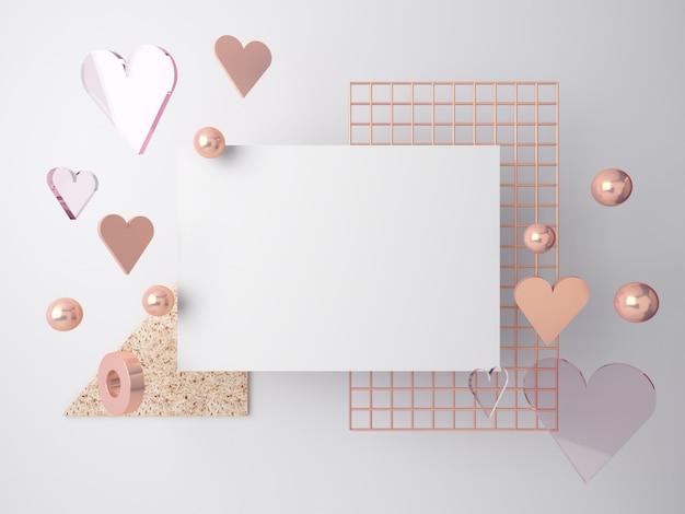 3d minimalna scena walentynkowa, spadające romantyczne serca. abstrakcjonistyczna sceny złota menchia i szklani kształty z pustą przestrzenią