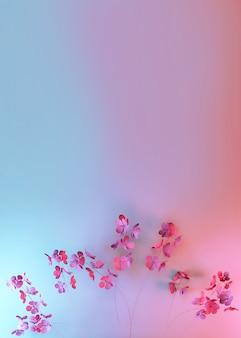3d minimalne tło gradientowe z różowymi wiosennymi kwiatami i pustym podium do promocji marki. pozdrowienie zaproszenie. walentynki, 8 marca karta kobieca