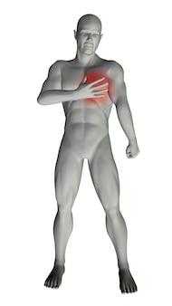 3d model człowieka z bólem w klatce piersiowej