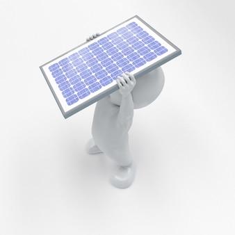 3d morph człowiek z panelem słonecznym