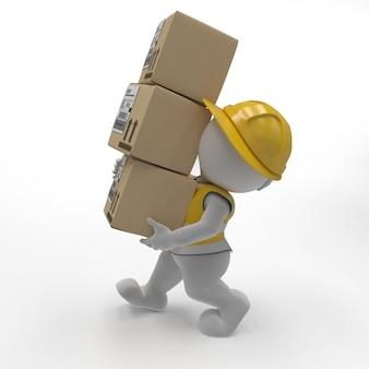 3d morph man builder, niosąc pudełka