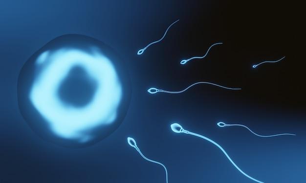3d niebieska mikroskopijna plemnik i komórka jajowa