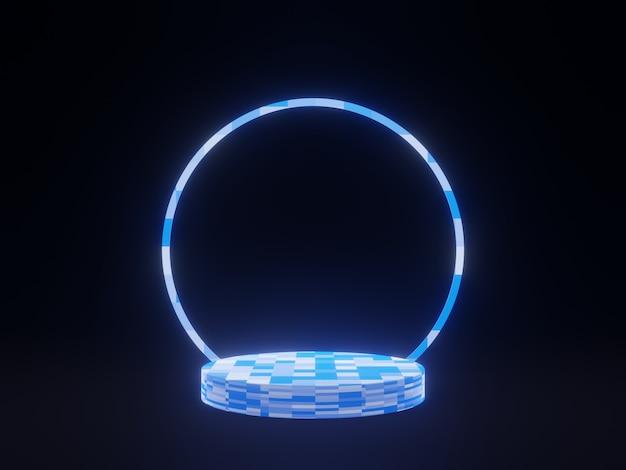 3d niebieski geometryczny stojak na czarnym tle podium produktu