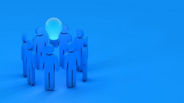3d niebieskich ludzi w kręgu i żarówka