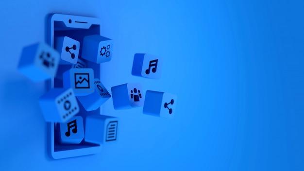 3d niebieskie ikony aplikacji w kostkach unoszących się na ekranie smartfona