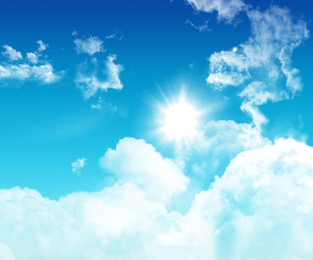 3d niebieskie niebo z puszystymi białymi chmurami