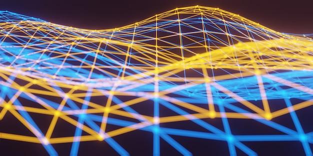 3d niewyraźne połączenie sieciowe wielokątów, abstrakcyjne świecące wielokąty, fala cyfrowe tło, technologia cząsteczek o wielokątnych kształtach