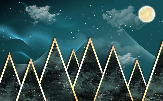 3d nowoczesna tapeta ścienna złote i ciemne trójkąty złoty księżyc i chmury w ciemnym tle