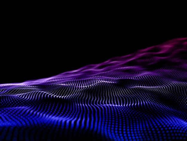 3d nowoczesne tło z płynącymi cząsteczkami. komunikacja sieciowa.
