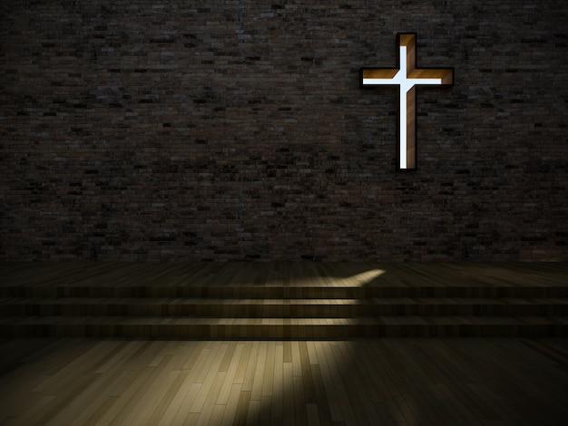 3d nowoczesne wnętrze kościoła