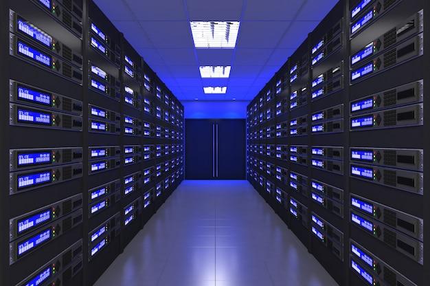 3d nowoczesne wnętrze serwerowni