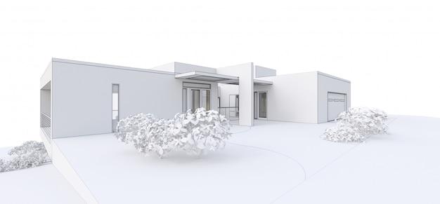 3d nowożytny dom na bielu